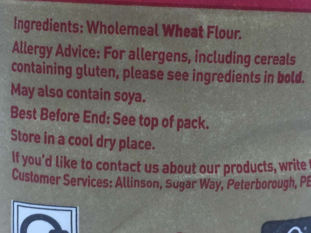Allinsons Plain Wholemeal Allergens