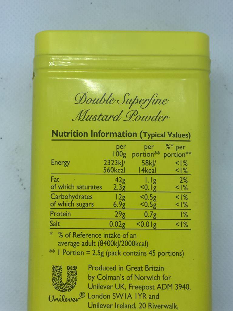 English Mustard Powder - Nutrition Label